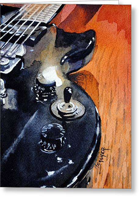 Black Epiphone Greeting Card by Spencer Meagher