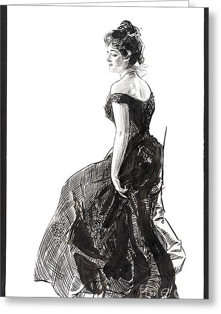 Pen And Ink Drawing Photographs Greeting Cards - Black Evening Dress 1901 Greeting Card by Padre Art