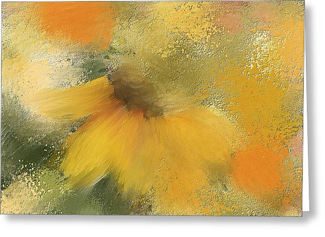 Color Enhanced Mixed Media Greeting Cards - Black Eyed Susan  Greeting Card by Renee Skiba