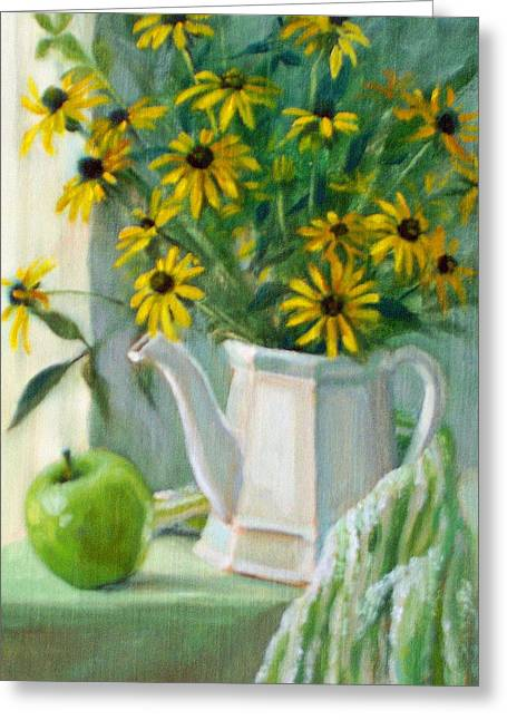 Still Life With Green Apples Greeting Cards - Black-eyed Susans Greeting Card by Bonnie Mason