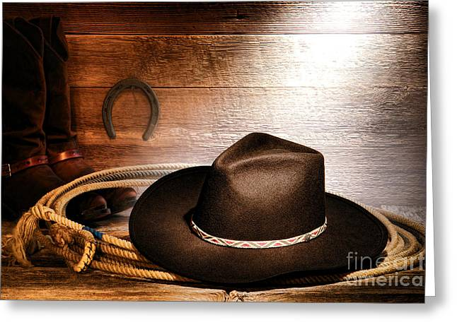 Cowboy Hat Greeting Cards - Black Felt Cowboy Hat Greeting Card by Olivier Le Queinec