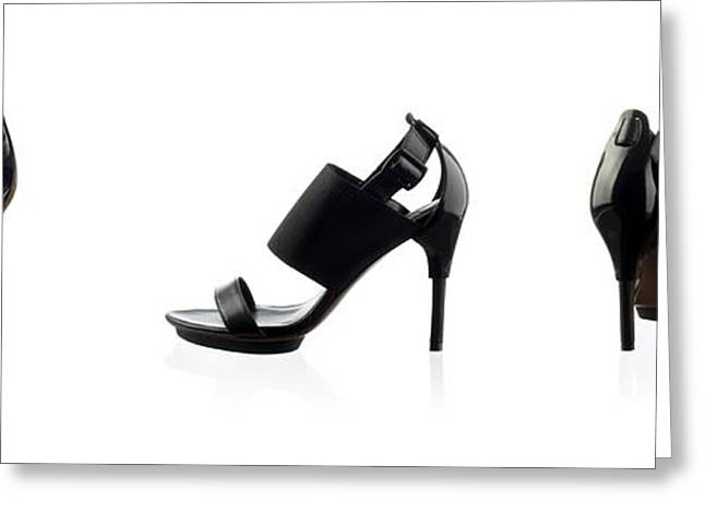 Open Toe Shoes Greeting Cards - Black female shoes over white Greeting Card by Nikita Buida