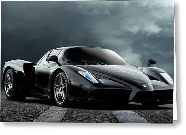 Ferrari Automobile Greeting Cards - Black Ferrari Greeting Card by Peter Chilelli