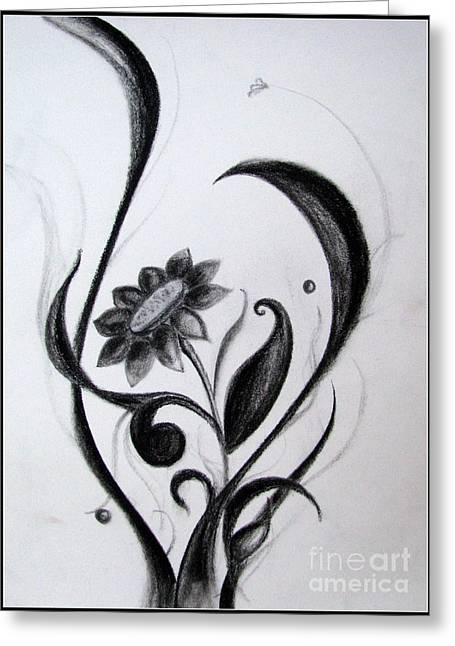 Artistic Photography Drawings Greeting Cards - Black flowers abstract Charcoal art Greeting Card by Prajakta P