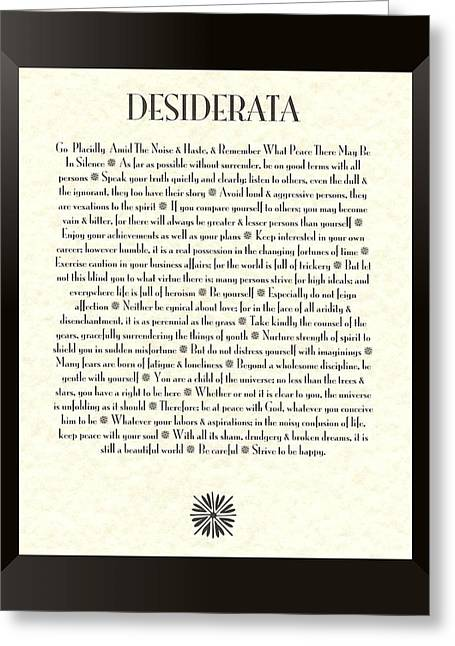 Gift Greeting Cards - Black Framed Sunburst DESIDERATA Poem Greeting Card by Claudette Armstrong