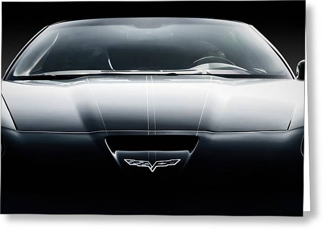Black Greeting Cards - Black Grand Sport Corvette Greeting Card by Douglas Pittman