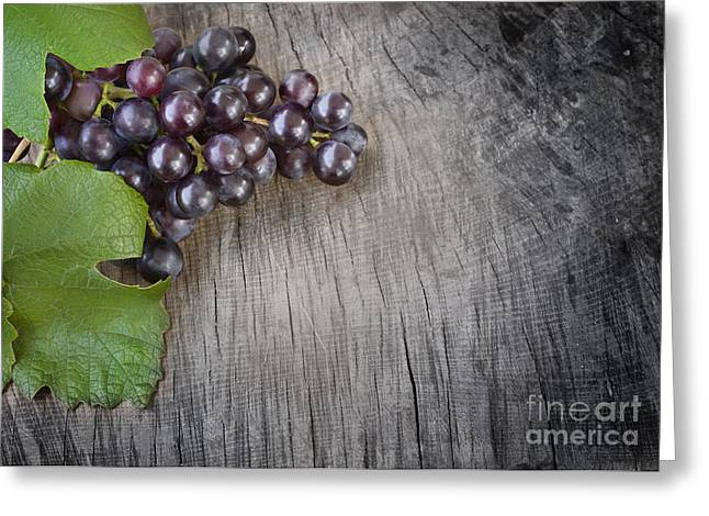 Black grapes Greeting Card by Mythja  Photography