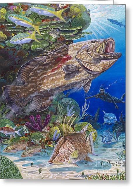 Mullet Greeting Cards - Black Grouper hole Greeting Card by Carey Chen