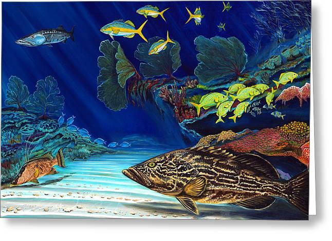 Best Sellers -  - Grunts Greeting Cards - Black grouper reef Greeting Card by Steve Ozment