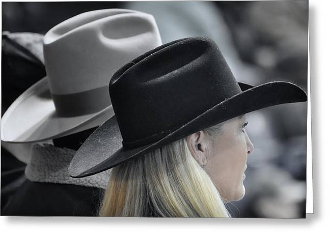 Cowgirl And Cowboy Greeting Cards - Black Hat Blond Hair Greeting Card by Joan Carroll