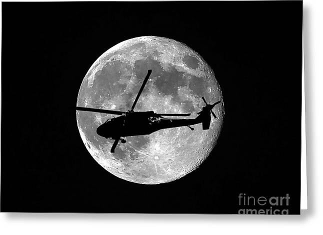 Military Aircraft Greeting Cards - Black Hawk Moon Greeting Card by Al Powell Photography USA