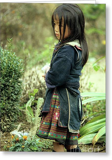 Ethnic Minority Greeting Cards - Black Hmong Girl Greeting Card by Rick Piper Photography