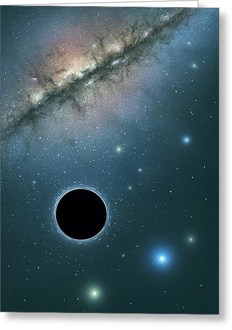 Stellar Evolution Greeting Cards - Black hole and galaxy, artwork Greeting Card by Science Photo Library