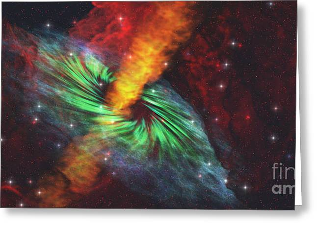 Interstellar Space Greeting Cards - Black Hole in Cosmos Greeting Card by Corey Ford