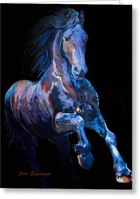 Unique Art Drawings Greeting Cards - Black Horse In Black Greeting Card by Jose Espinoza