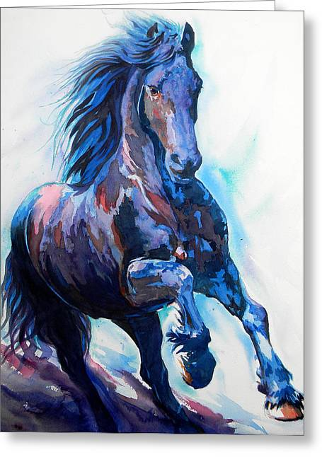 Unique Art Drawings Greeting Cards - Black Horse Greeting Card by Jose Espinoza