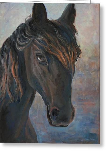 Black Horse Greeting Card by Marco Busoni