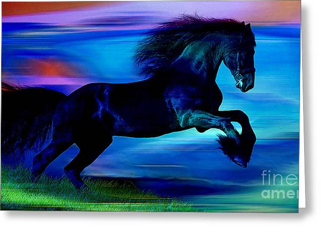 Black Horse Greeting Card by Marvin Blaine