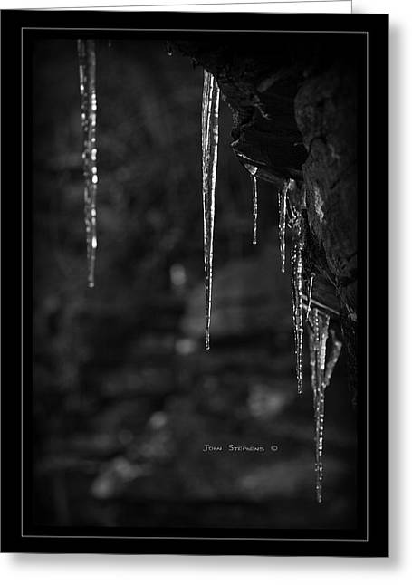 Ledge Photographs Greeting Cards - Black Ice Greeting Card by John Stephens