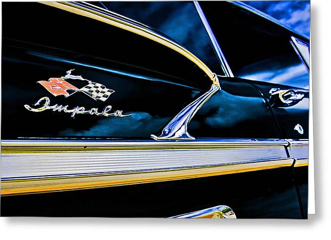 Chevy Greeting Cards - Black Impala Greeting Card by Andy Crawford