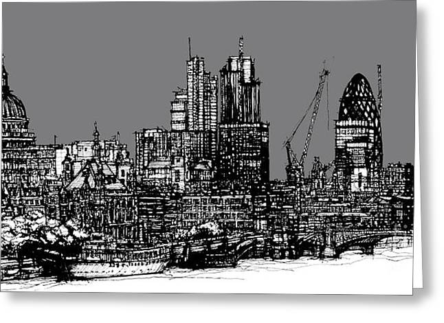 Pen And Ink Framed Prints Digital Art Greeting Cards - London skyline with grey sky Greeting Card by Lee-Ann Adendorff
