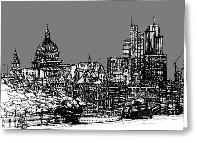 City Skylines Framed Prints Greeting Cards - Dark Ink London skyline with grey sky Greeting Card by Lee-Ann Adendorff