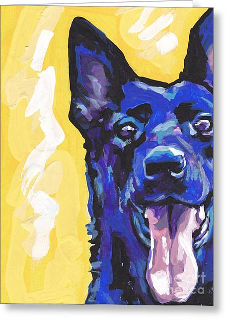 German Shepherd Greeting Cards - Black is Black Greeting Card by Lea