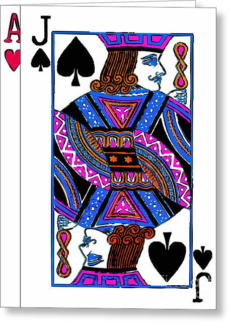 Deck Of Cards Greeting Cards - Black Jack 20140301 Greeting Card by Wingsdomain Art and Photography