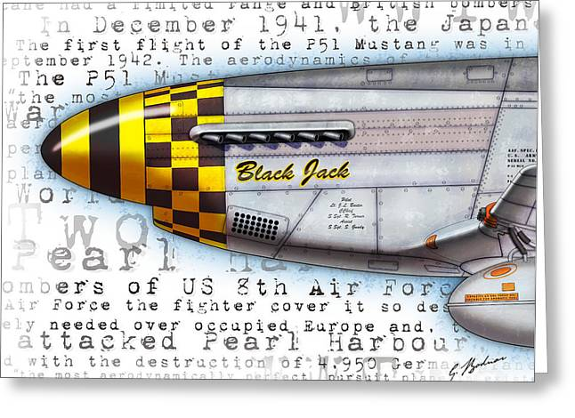 Nose Art Greeting Cards - Black Jack P-51 Mustang Nose Art Greeting Card by Gary Bodnar