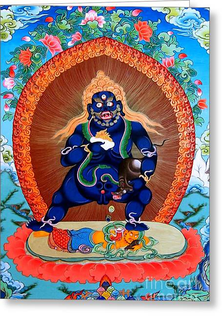 Financial Difficulties Greeting Cards - Black Jambhala  4 Greeting Card by Lanjee Chee