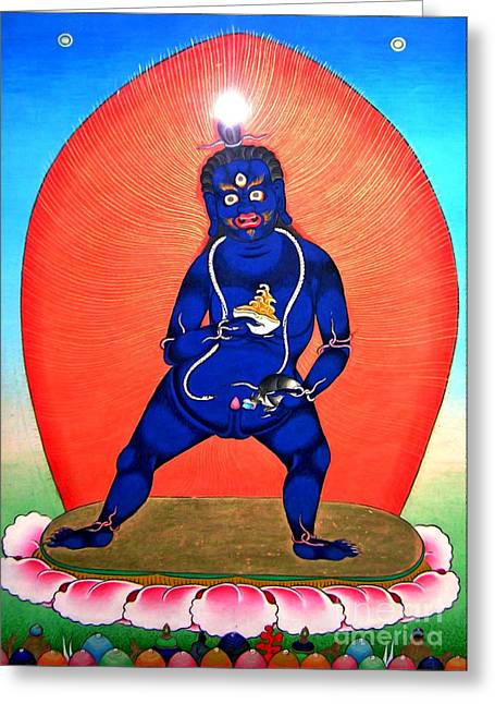 Financial Difficulties Greeting Cards - Black Jambhala  7 Greeting Card by Lanjee Chee