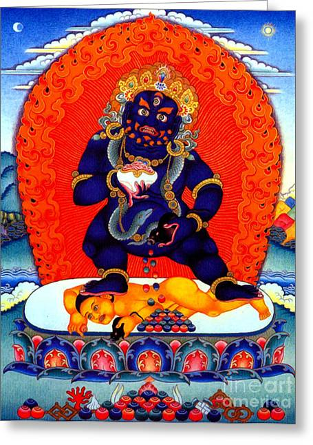 Financial Difficulties Greeting Cards - Black Jambhala  8 Greeting Card by Lanjee Chee