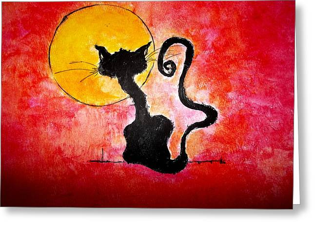 Wicked Kitty Greeting Cards - BlacK KaT Greeting Card by Suzen JueL