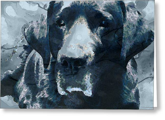 Buy Dog Art Greeting Cards - Black Lab Art - To The Moon And Back - By Sharon Cummings Greeting Card by Sharon Cummings