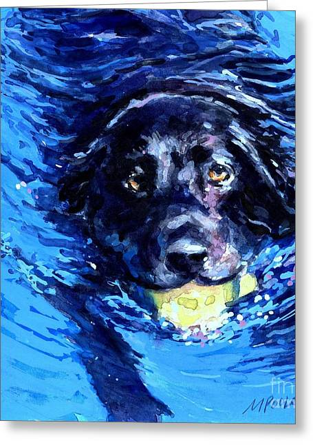 Tennis Ball Greeting Cards - Black Lab  Blue Wake Greeting Card by Molly Poole