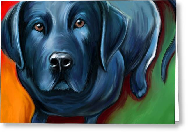 Black Lab Greeting Card by David Kyte
