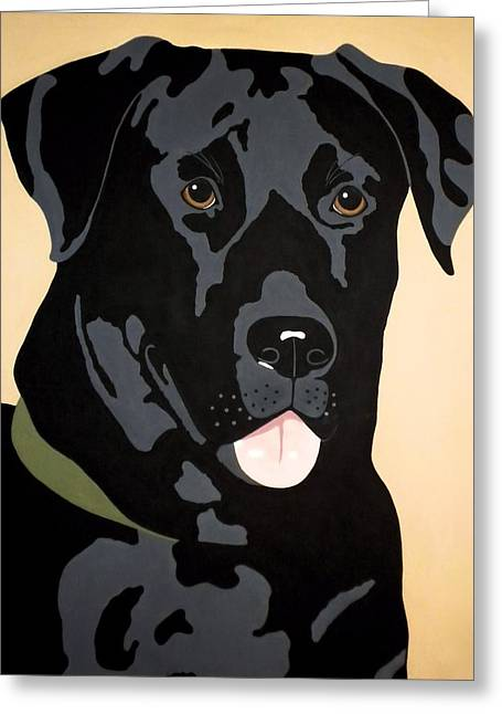 Black Labrador Retreiver Greeting Cards - Black Lab Greeting Card by Julie Stubbs