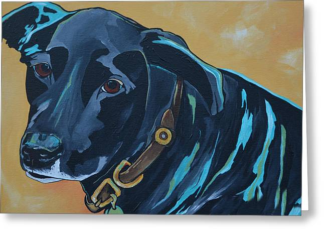 Commission Work Greeting Cards - Black Lab Greeting Card by Patti Schermerhorn