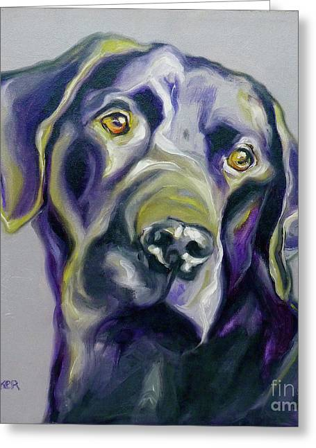 Labs Drawings Greeting Cards - Black Lab Prize Greeting Card by Susan A Becker