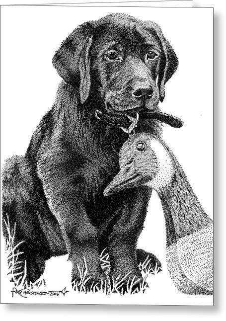 Geese Drawings Greeting Cards - Black Lab Puppy Greeting Card by Rob Christensen