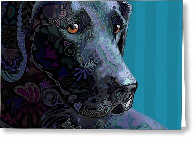 Black Labrador Retreiver Greeting Cards - Black Lab Squared Greeting Card by Sharon Marcella Marston