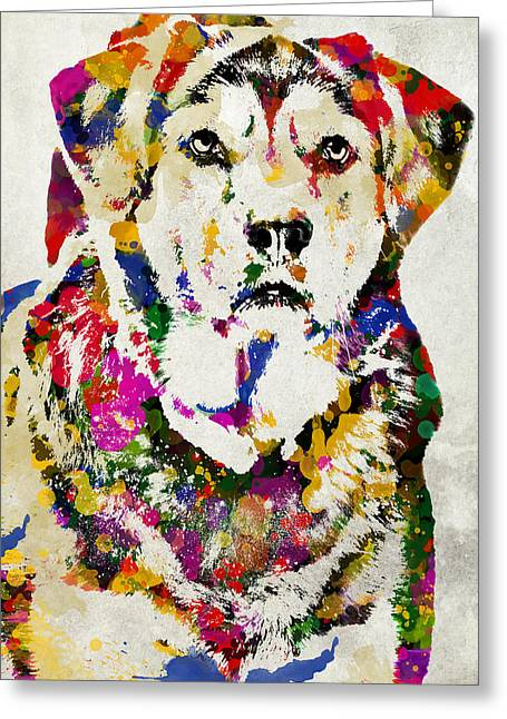 Painted Image Greeting Cards - Black Lab Watercolor Art Greeting Card by Christina Rollo