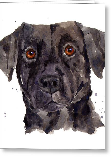 Dog Portraits Greeting Cards - Black Labrador Greeting Card by Alison Fennell