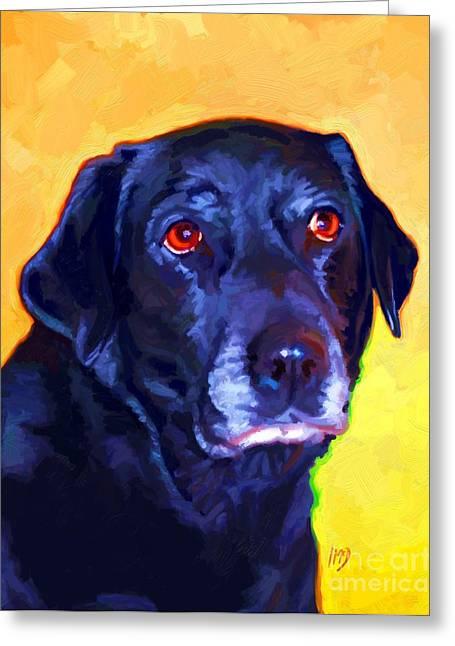 Buy Dog Prints Digital Greeting Cards - Black Labrador Art Greeting Card by Iain McDonald