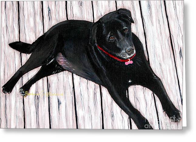 Lazy Red Dog Greeting Cards - Black Labrador  Greeting Card by Barbara Griffin