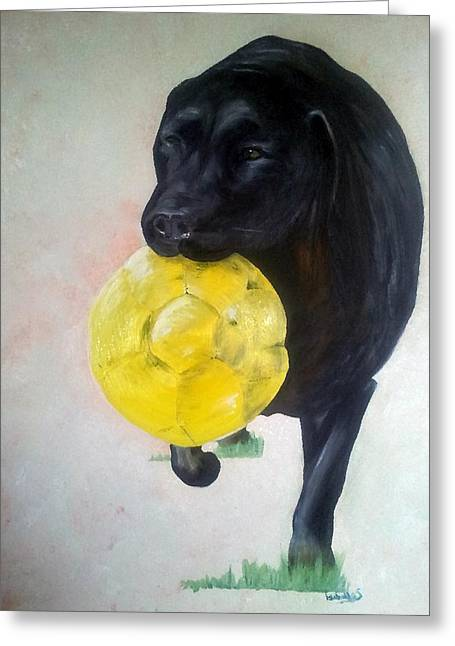 Carry Paintings Greeting Cards - Black Labrador Commission Painting Greeting Card by Isabella F Abbie Shores LstAngel Arts