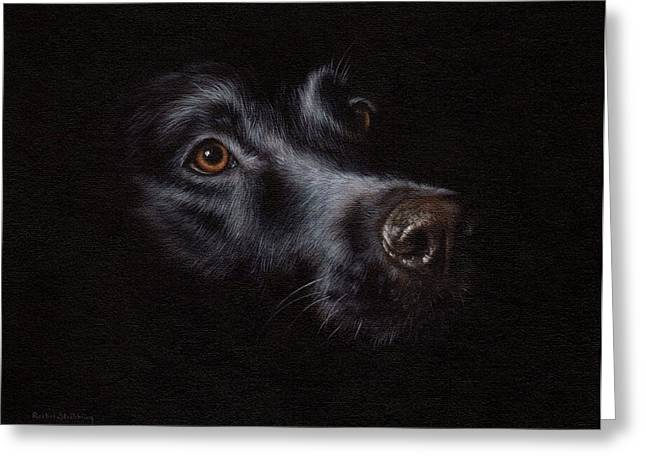 Domestic Pets Greeting Cards - Black Labrador Painting Greeting Card by Rachel Stribbling