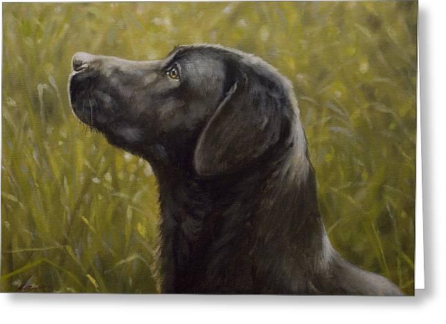 Retriever Prints Greeting Cards - Black Labrador Portrait I Greeting Card by John Silver