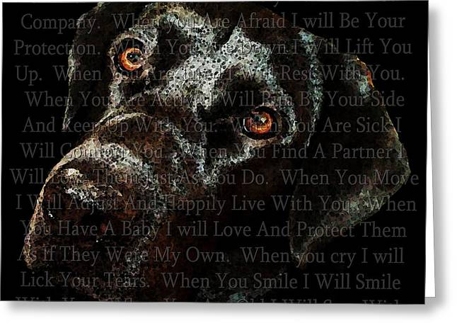 Dog Framed Prints Greeting Cards - Black Labrador Retriever Dog Art - I Am Dog Greeting Card by Sharon Cummings