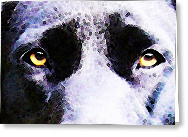 Retriever Prints Digital Art Greeting Cards - Black Labrador Retriever Dog Art - Lab Eyes Greeting Card by Sharon Cummings